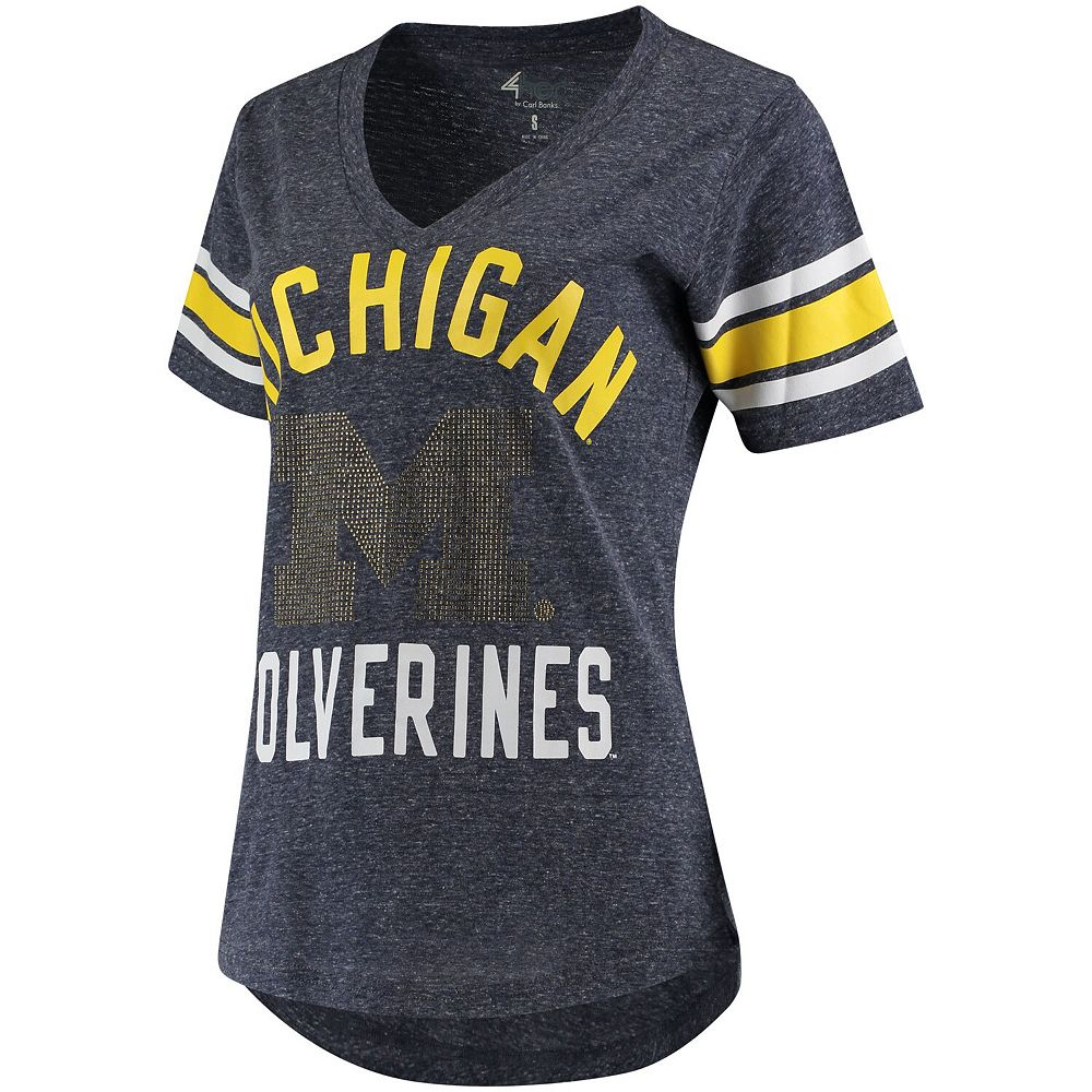 Women's G-III 4Her by Carl Banks Navy Michigan Wolverines The Big Game Sleeve Stripe Tri-Blend T-Shirt