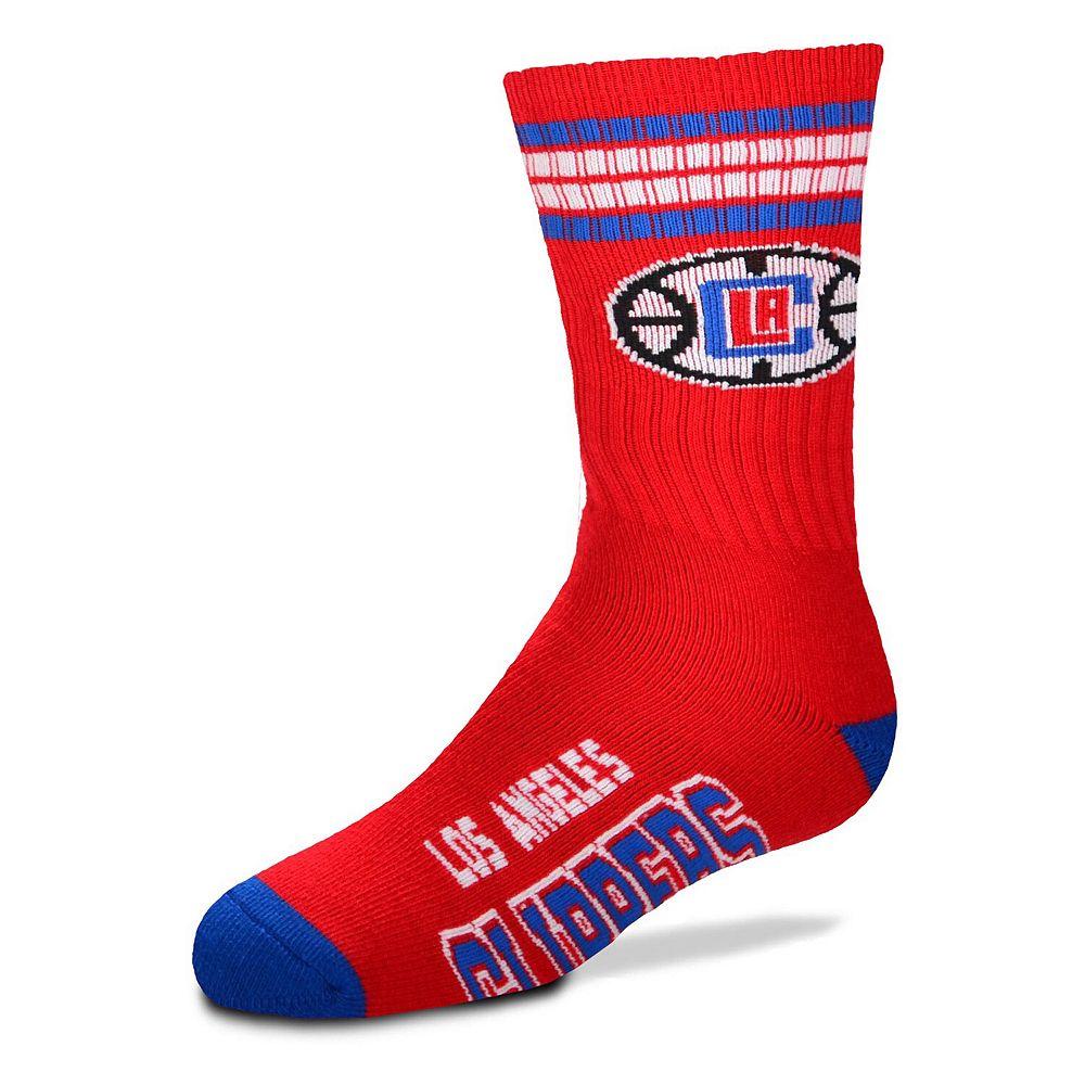 Youth For Bare Feet LA Clippers 4-Stripe Deuce Quarter-Length Socks
