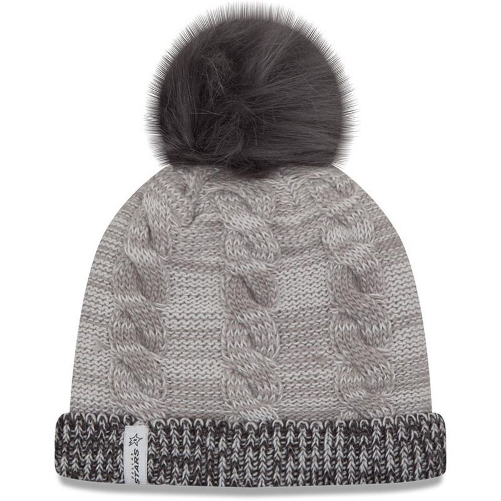 Women's New Era Gray Dallas Stars Cozy Team Cuffed Knit Hat with Pom