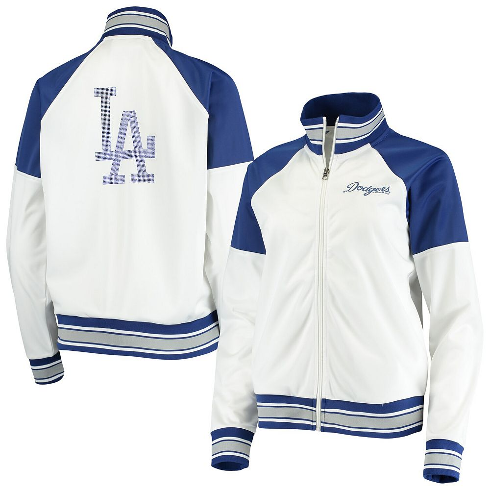 Women's G-III 4Her by Carl Banks White/Navy Los Angeles Dodgers First Hit Full-Zip Track Jacket