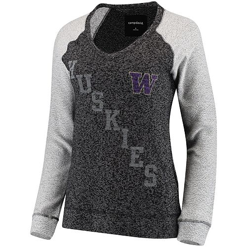 Women's Heather Black Washington Huskies Weekender Knit V-Neck Sweatshirt