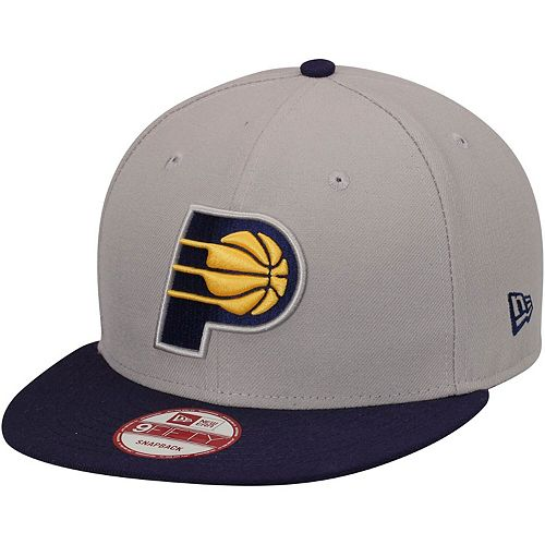 Mens Indiana Pacers New Era Gray Team 9FIFTY Snapback Adjustable Hat