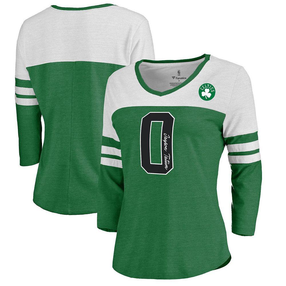 Women's Fanatics Branded Jayson Tatum Kelly Green Boston Celtics Starstruck Name & Number Tri-Blend 3/4-Sleeve V-Neck T-Shirt