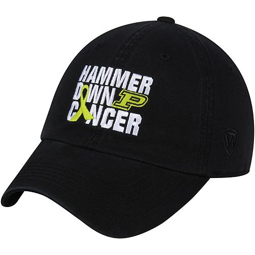 Men's Top Of The World Black Purdue Boilermakers Hammer Down Cancer Unstructured Adjustable Hat