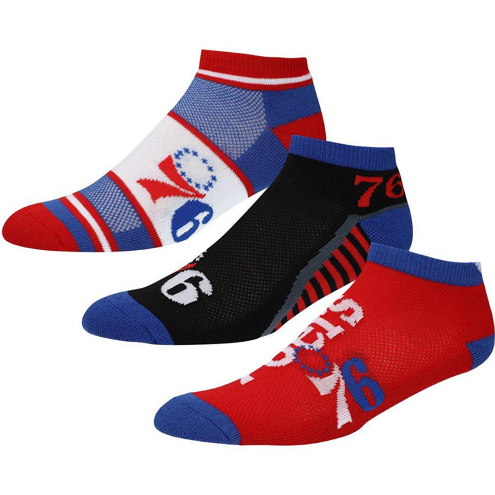 Men's For Bare Feet Philadelphia 76ers Three-Pack Show Me The Money Ankle Socks