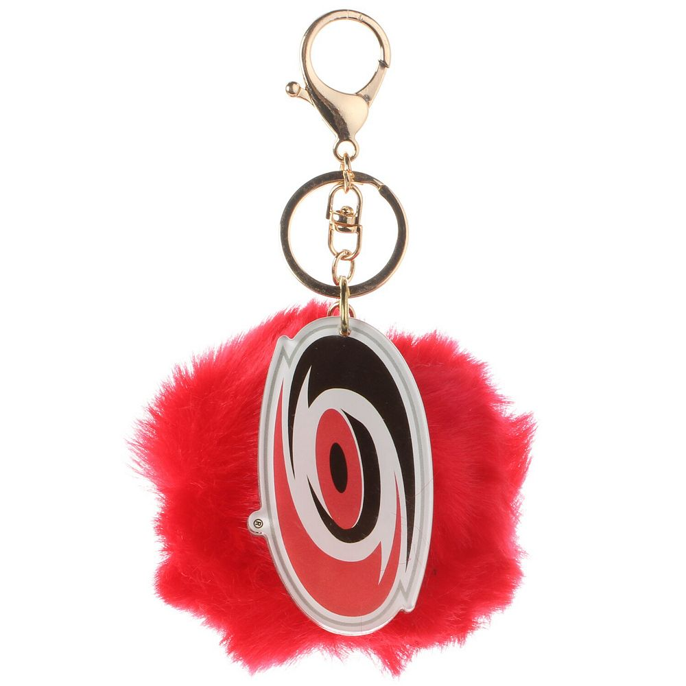 Cuce Red Carolina Hurricanes Faux Fur Pom Bag Charm and Keychain