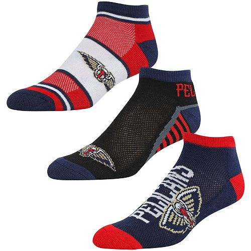 Men's For Bare Feet New Orleans Pelicans Three-Pack Show Me The Money Ankle Socks