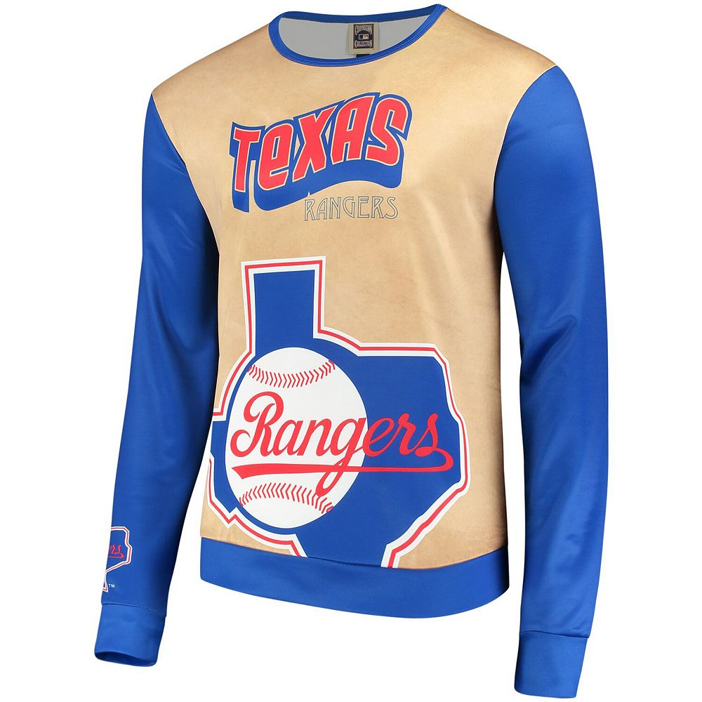 Men's Tan/Royal Texas Rangers Sublimated Crew Neck Sweater