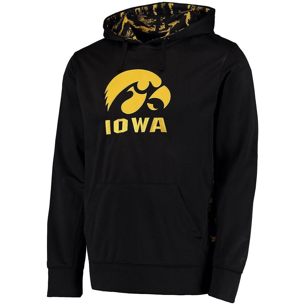 Men's Colosseum Black Iowa Hawkeyes Oil Slick Pullover Hoodie