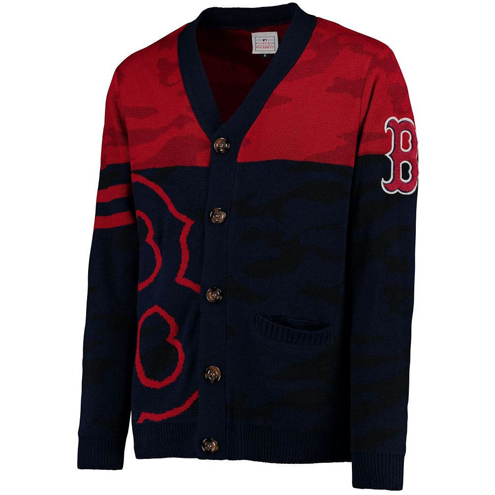 Men's Navy Boston Red Sox Camouflage Cardigan Sweater