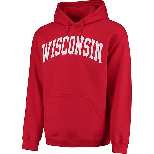 Men's Red Wisconsin Badgers Basic Arch Pullover Hoodie