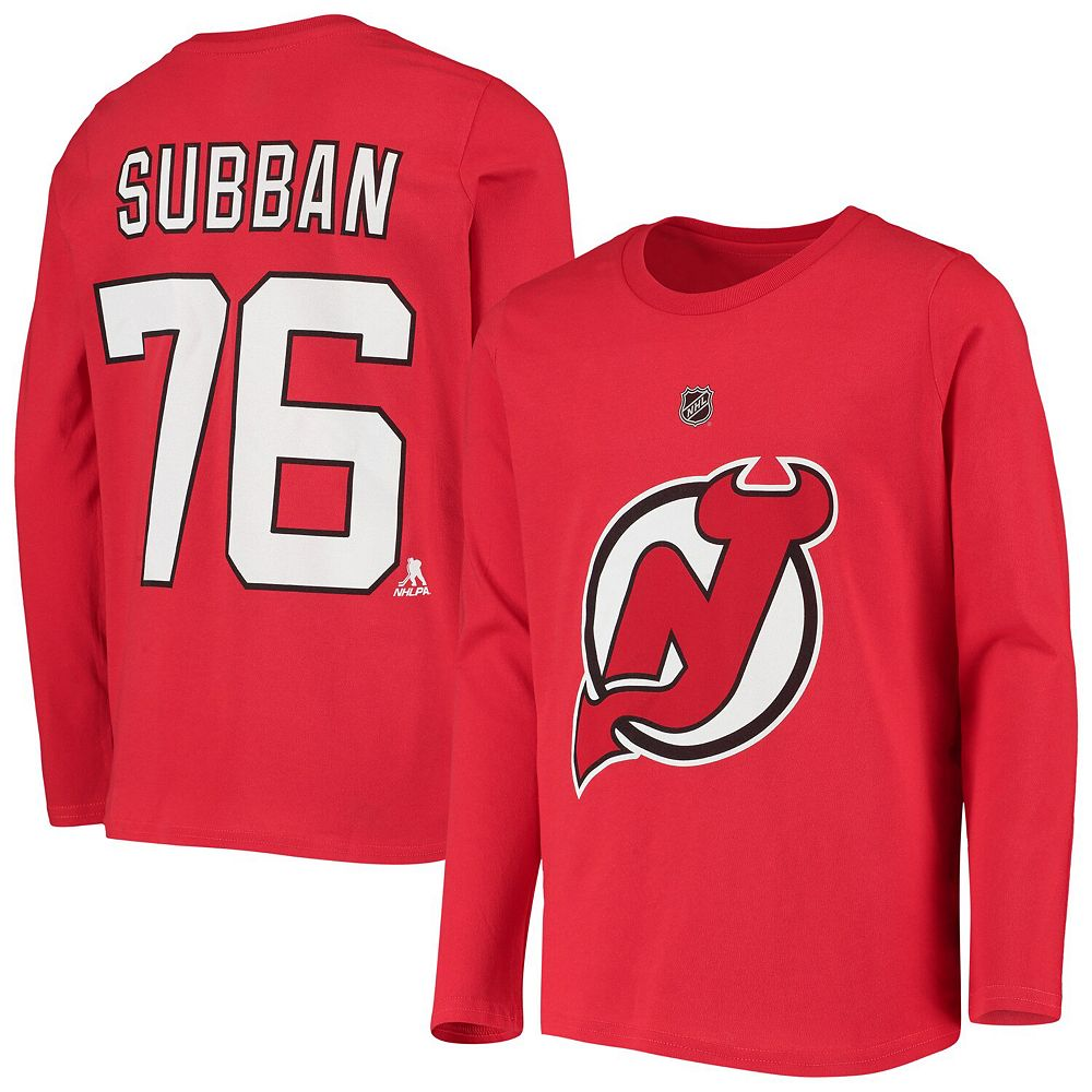 Youth P.K. Subban Red New Jersey Devils Authentic Stack Long Sleeve Name & Number T-Shirt