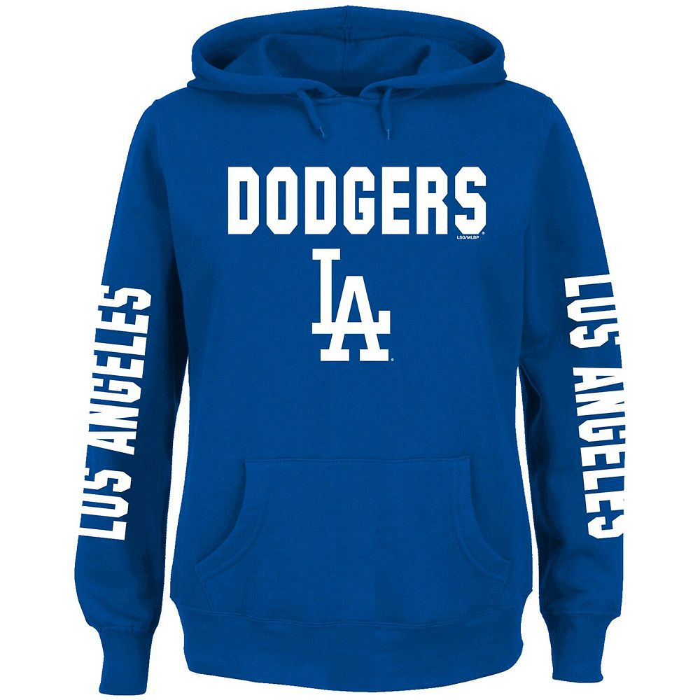 Women's Royal Los Angeles Dodgers Plus Size 4-Hit Pullover Hoodie