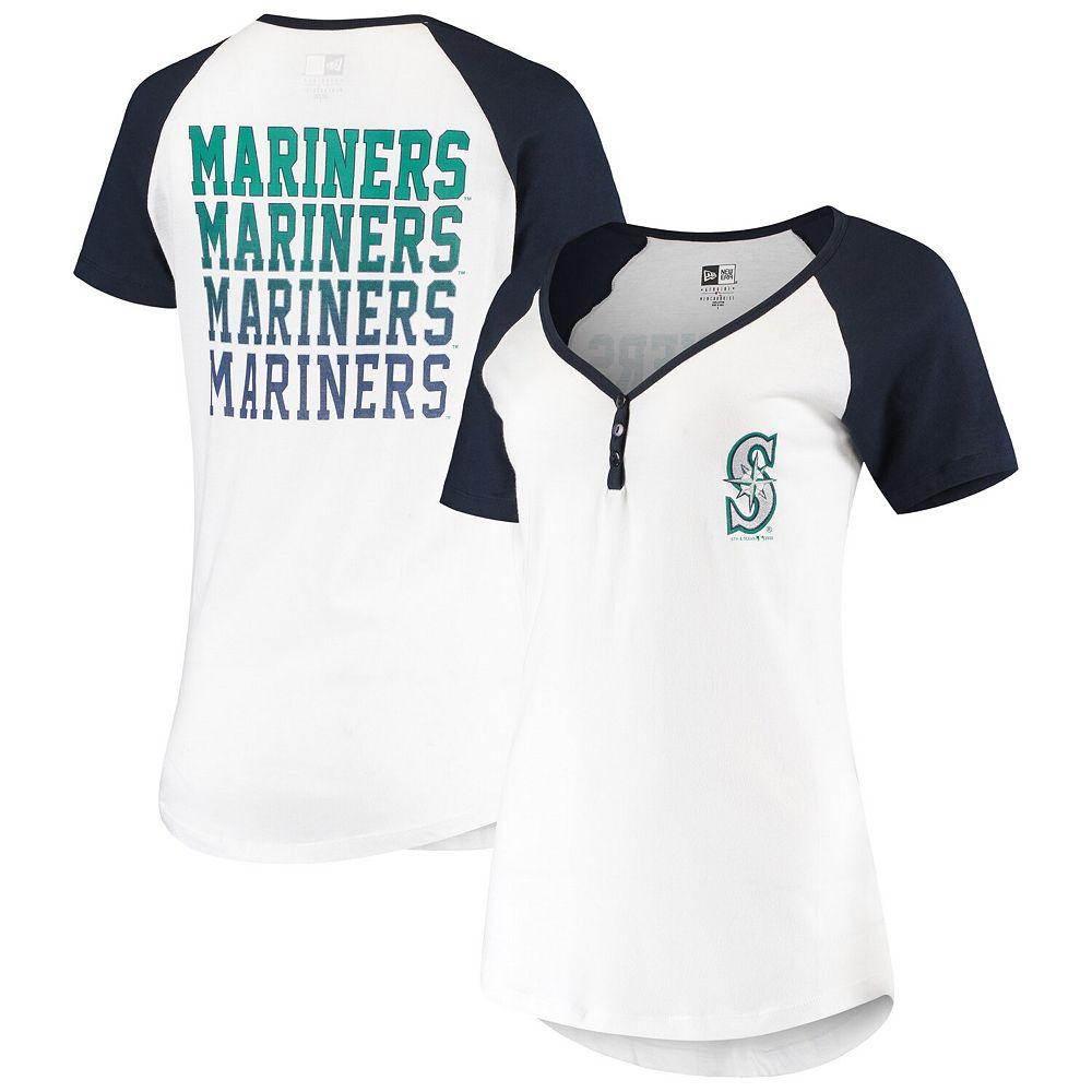 Women's New Era White Seattle Mariners Henley T-Shirt