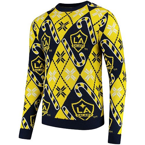 Men's Blue LA Galaxy Candy Cane Repeat Crew Neck Ugly Sweater