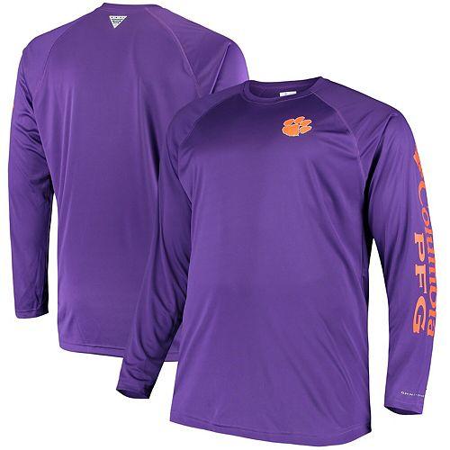 Men's Columbia Purple Clemson Tigers Big & Tall Terminal Tackle Long Sleeve Omni-Shade T-Shirt