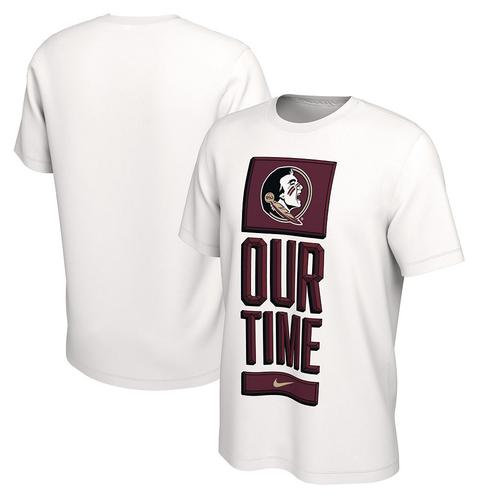Men's Nike White Florida State Seminoles Basketball Our Time Bench Legend Performance T-Shirt