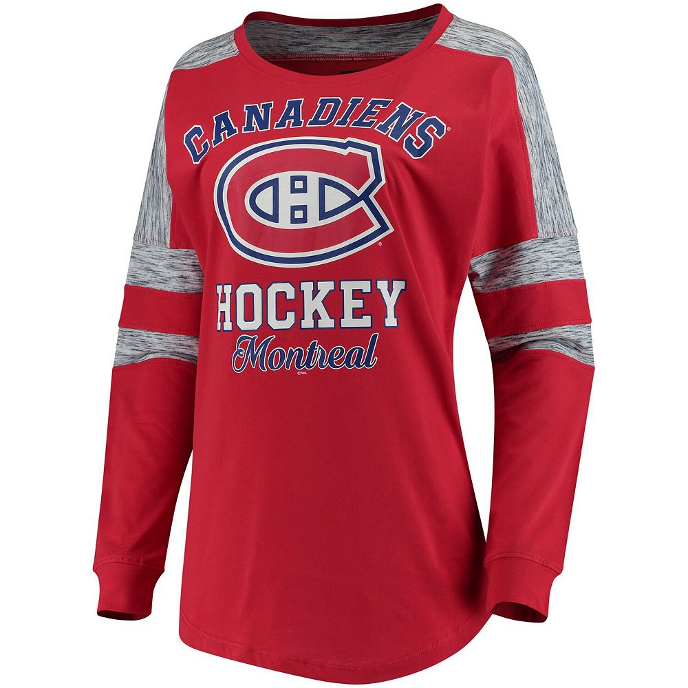 Women's 5th & Ocean by New Era Red Montreal Canadiens Baby Jersey Long Sleeve Crew Space Dye Inserts T-Shirt