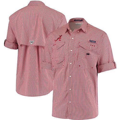 Men's Columbia Crimson Alabama Crimson Tide Gingham Super Bonehead PFG Button-Down Long Sleeve Shirt