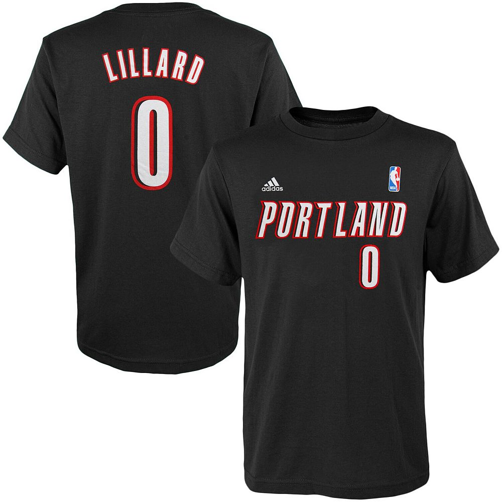 Youth adidas Damian Lillard Black Portland Trail Blazers Game Time Flat Name & Number T-Shirt