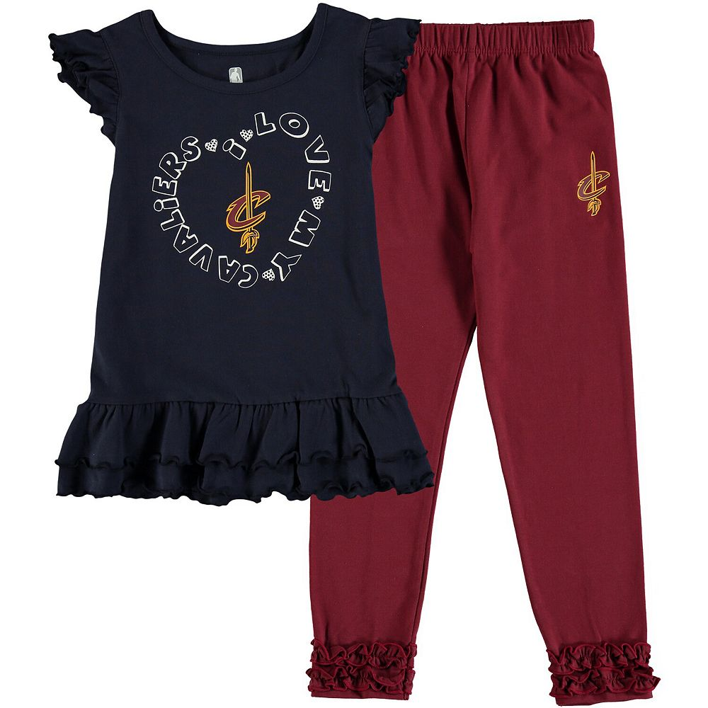 Preschool Black Cleveland Cavaliers Love Ruffle Pant and T-Shirt Set