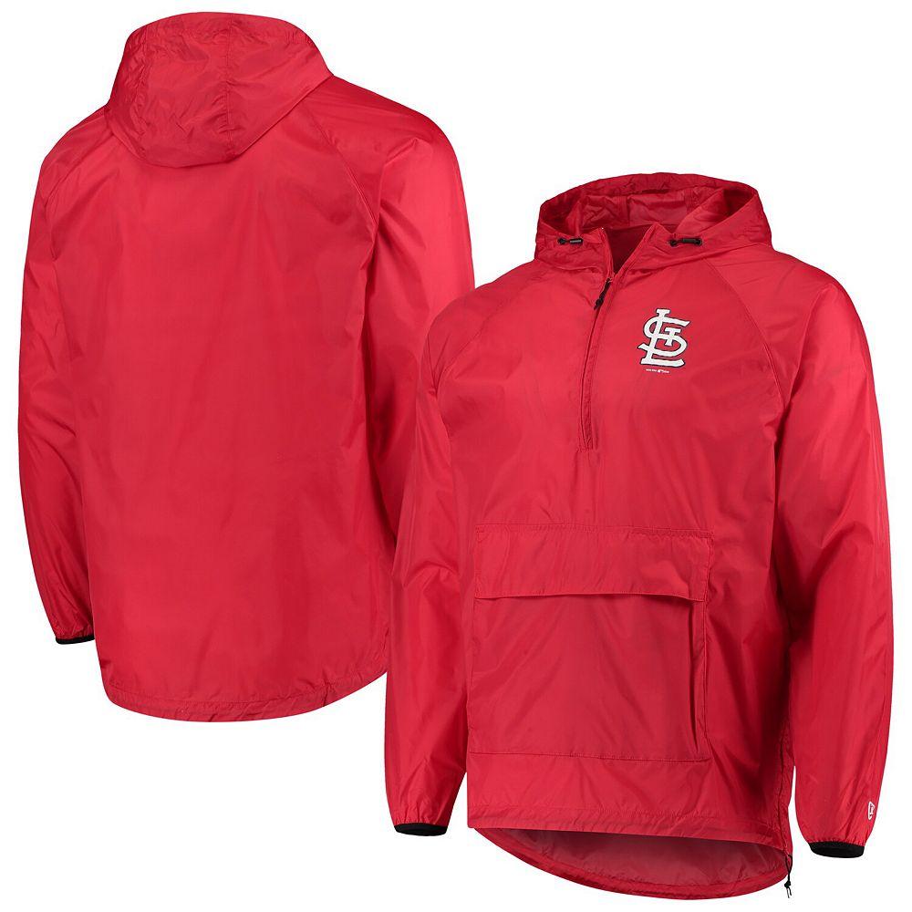 Men's New Era Red St. Louis Cardinals Anorak Packable 1/4-Zip Hoodie Jacket