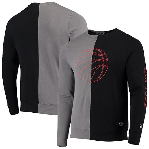 Men's New Era Gray/Black Toronto Raptors Diagonal French Terry Color Block Pullover Sweatshirt