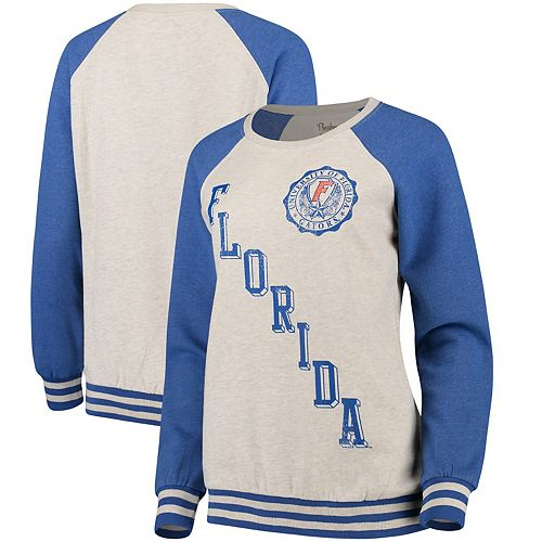 Women's Pressbox Cream/Royal Florida Gators Sundown Vintage Pullover Sweatshirt