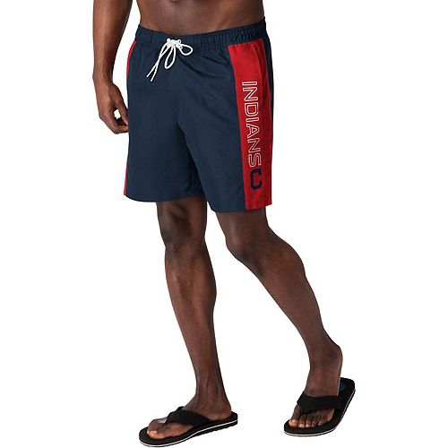 Men's G-III Sports by Carl Banks Navy Cleveland Indians Outfield Volley Swim Shorts