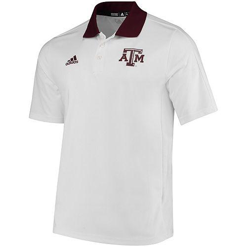 Men's adidas White Texas A&M Aggies 2017 Coaches Sideline climalite Polo