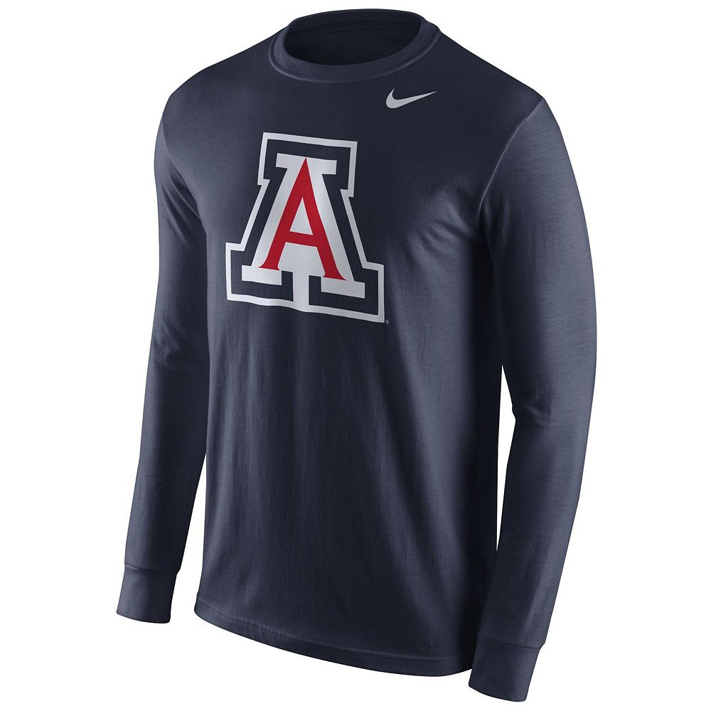 Men's Nike Navy Arizona Wildcats Cotton Logo Long Sleeve T-Shirt