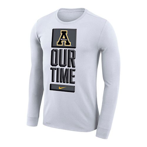 Men's Nike White Appalachian State Mountaineers Basketball Our Time Bench Legend Long Sleeve Performance T-Shirt