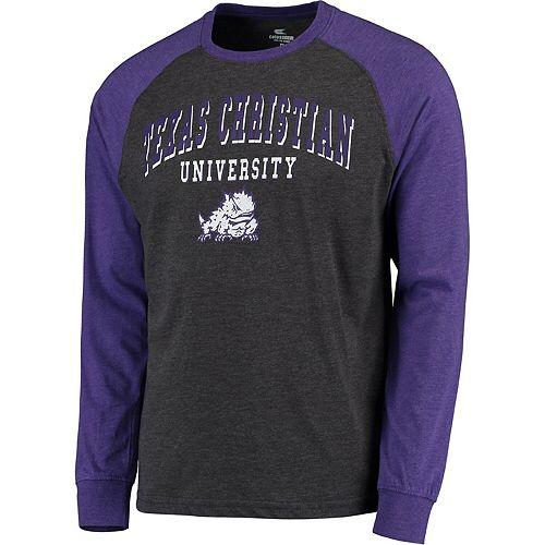 Men's Colosseum Heathered Gray TCU Horned Frogs Olympus Raglan Long Sleeve T-Shirt