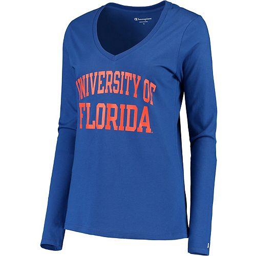 Women's Champion® Royal Florida Gators University Long Sleeve V-Neck T-Shirt