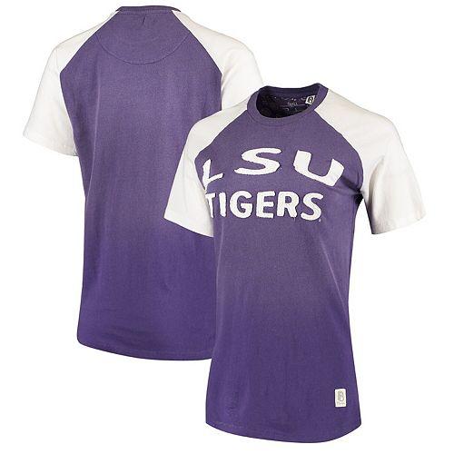 Women's Pressbox Purple LSU Tigers Bayonne Applique Ombre Raglan T-Shirt