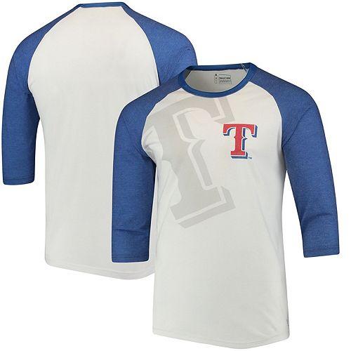 Men's White/Royal Texas Rangers Baseball 3/4-Sleeve Raglan T-Shirt
