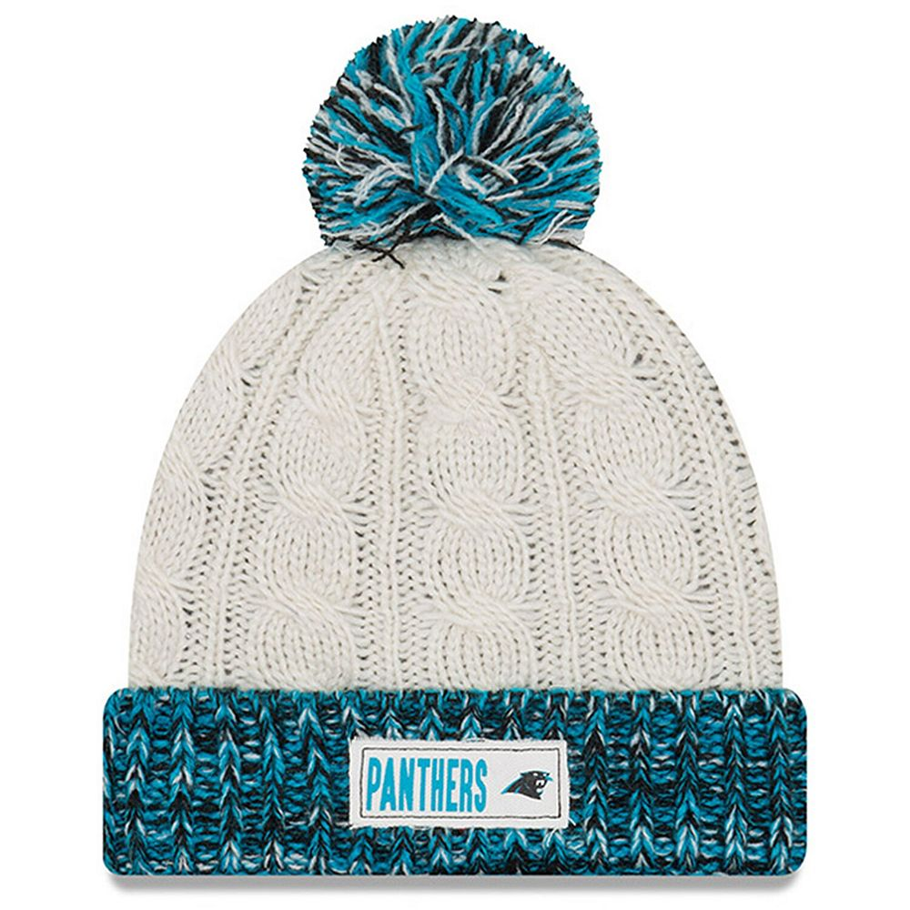 Women's New Era Cream Carolina Panthers Rugged Tag Cuffed Knit Hat with Pom