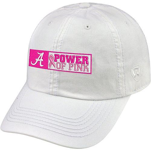 Men's Top of the World White Alabama Crimson Tide Power of Pink Adjustable Hat