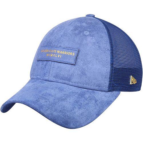 Men's New Era Royal Golden State Warriors Trucker Black Label Series 9TWENTY Adjustable Hat