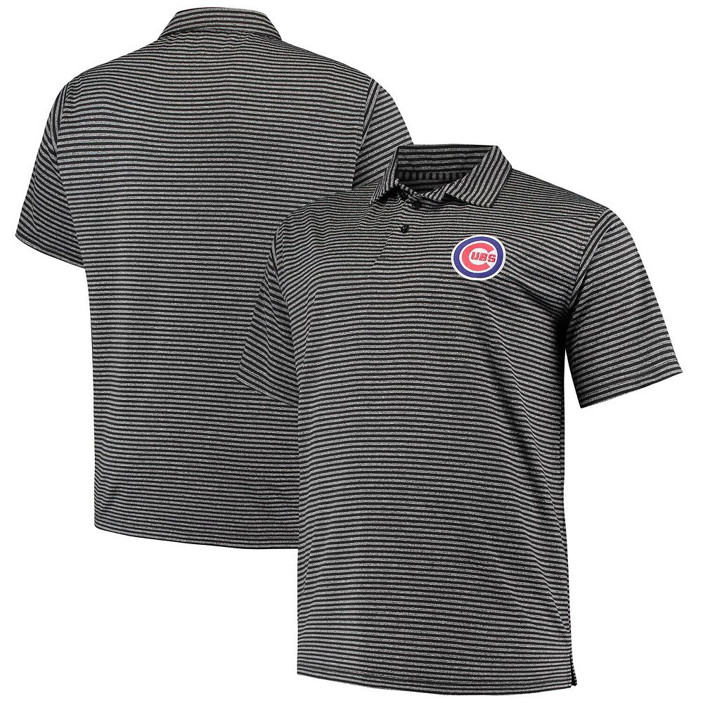 Men's Black Chicago Cubs Big & Tall Stripe Polo
