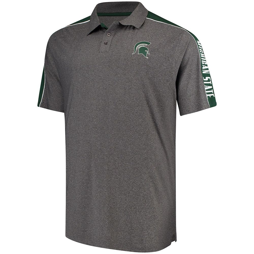 Men's Colosseum Charcoal Michigan State Spartans Big and Tall Southpaw Polo Shirt
