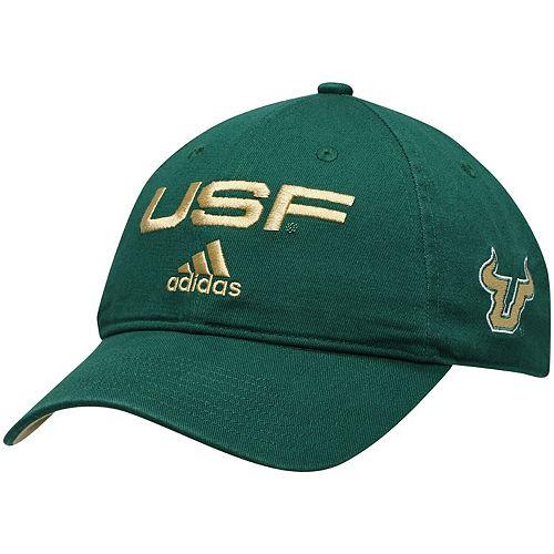Men's adidas Green South Florida Bulls Wordmark Three-Stripe Lockup Adjustable Hat