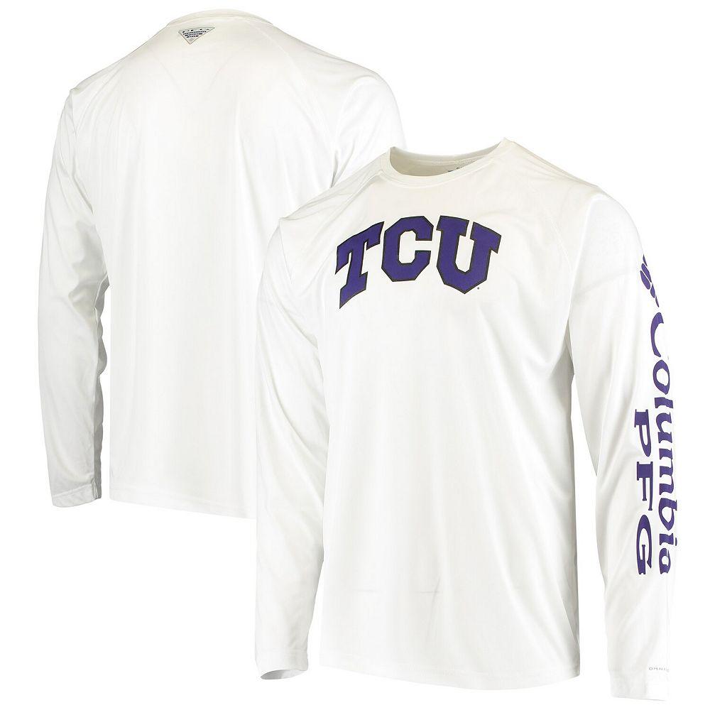 Men's Columbia White TCU Horned Frogs Terminal Tackle Omni-Shade Raglan Long Sleeve T-Shirt