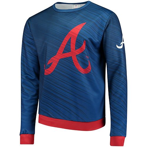 Men's Navy Atlanta Braves Static Rain Pullover Sweater