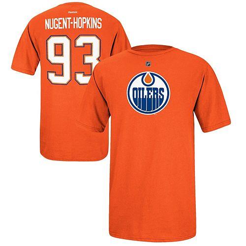Mens Edmonton Oilers Ryan Nugent-Hopkins Reebok Orange Name & Number T-Shirt