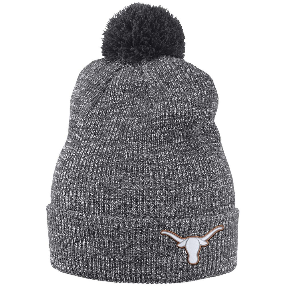 Men's Nike Heathered Charcoal Texas Longhorns Cuffed Knit Hat with Pom