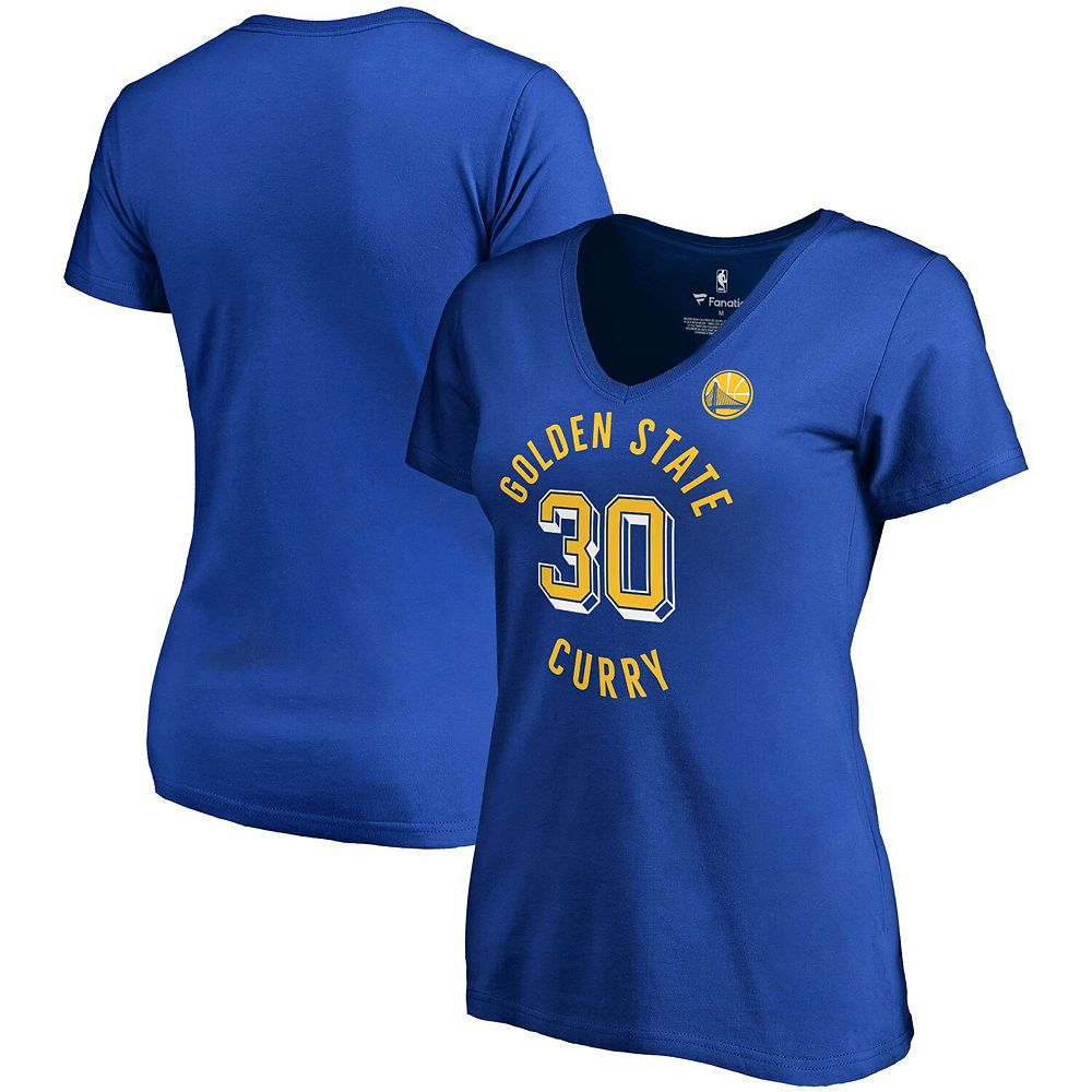 Women's Fanatics Branded Stephen Curry Royal Golden State Warriors Notable Name & Number V-Neck T-Shirt