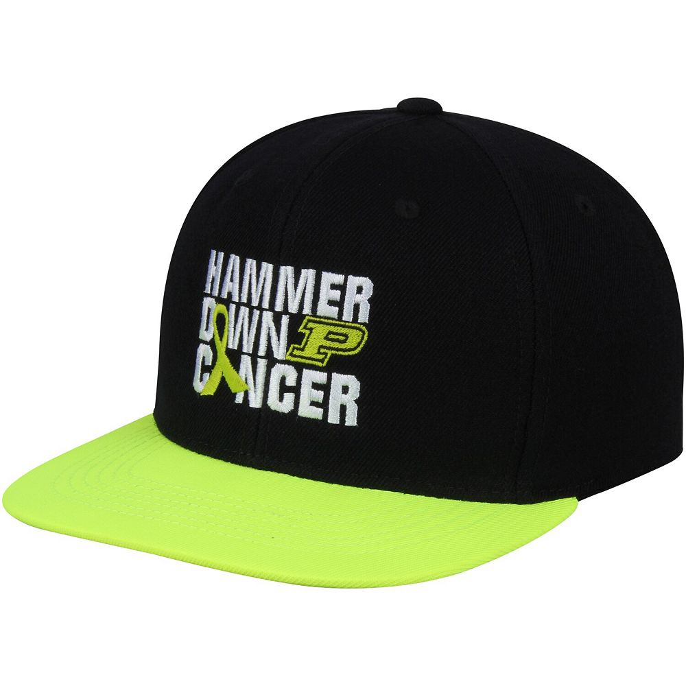 Men's Top Of The World Black Purdue Boilermakers Hammer Down Cancer Adjustable Hat