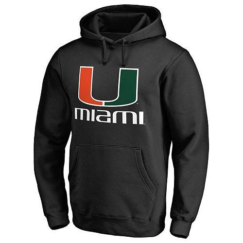 Men's Fanatics Branded Black Miami Hurricanes Team Lockup Pullover Hoodie