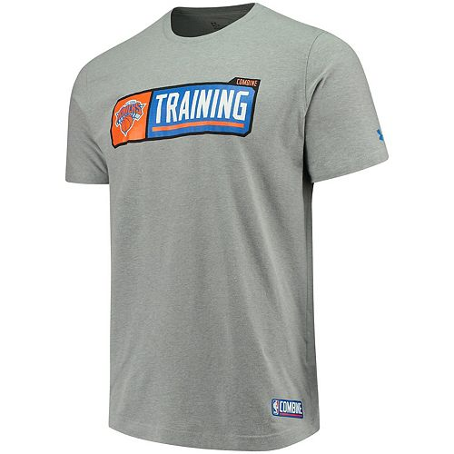 Men's Under Armour Heathered Gray New York Knicks Authentic Pill Performance Tri-Blend T-Shirt